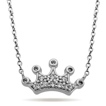 Crown Necklace, Silver Plated Princess Necklace, Modern Minimalist Crown Jewelry