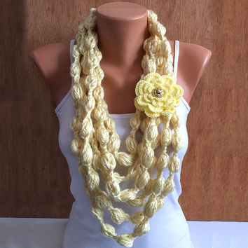 yellow bubble crochet Infinity scarf with crochet flower removable brooch pin