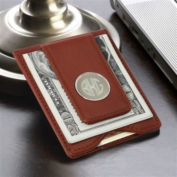 Brown Leather Wallet and Money Clip Free Personalized