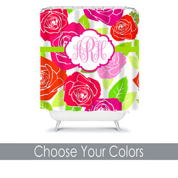 ROSE Shower Curtain Monogram Name Preppy CUSTOM Choose Colors Hot Pink Lime Green Flower College Dorm Bathroom Bath Polyester Made in USA