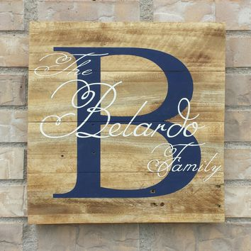 Custom Personalized Family Name Sign. Anniversary Gift. Wedding Gift.