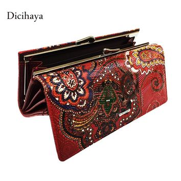 Dicihaya Women Leather Wallets Long Purse Vintage Cowhide Multiple Cards Holder Clutch Bag Embossment Wallet Large Capacity