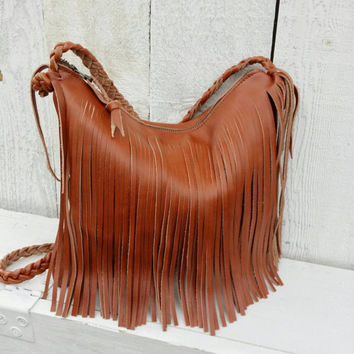 Saddle Tan Leather Fringe Handbag Brown Purse Fringed Leath