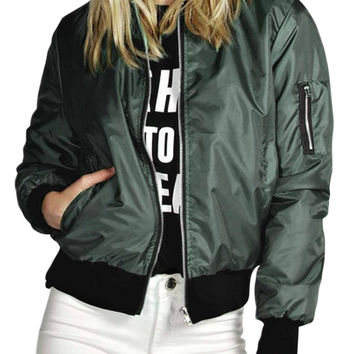 Army Green Bomber Jacket with Zipper Details