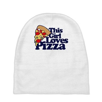 this girl loves pizza Baby Beanies