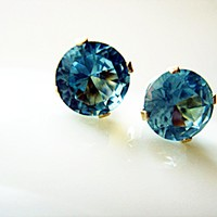 5mm Brilliant Cut Sky Blue CZ 925 Stud