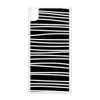Modern Graphical Black and White Stripes White Hard Plastic Case for Sony Xperia Z3 by UltraCases
