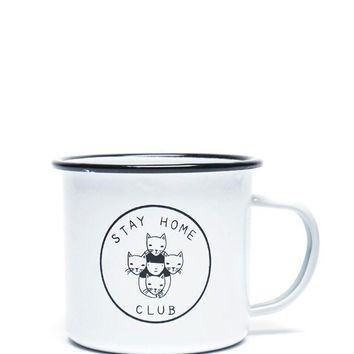 Stay Home Club Enamel Mug