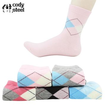 Cody Steel   Woman Diamond Socks Fashion Designer Women For Socks Casual All-Match Socks Women Colorful 5pairs/lot