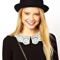 ASOS Roll Brim Felt Boater Hat - Black