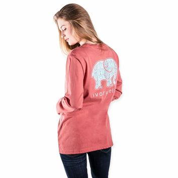 Ella Fit Dusty Cedar Lotus Hamsa Tee