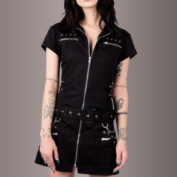 Macabre Heartdrop Mini Dress with Buckles and Lacing