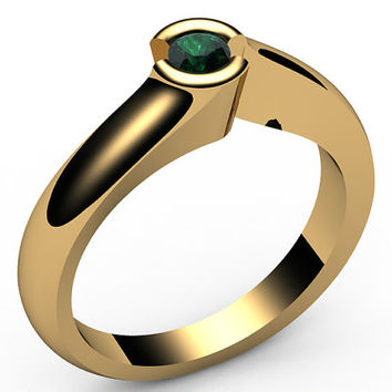 Emerald Engagement ring, Half bezel, tension, Solitaire Emerald Ring , carat,18K Yellow gold,18K White gold, Jewelry