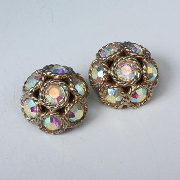 Sarah Coventry Dancing Magic Earrings AB Rhinestones Vintage
