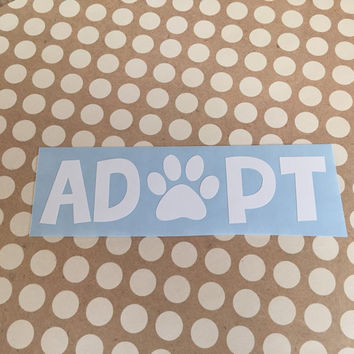 Adopt Dog Heart Decal | Adopt Mom Decal | Dog Mom Decal | Animal Dad Decal | Dog Family Decal | Love Sticker | Love Decal  | 239