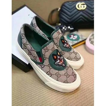 GUCCI Old School Casual Embroidery Dog Pattern Flats Sneakers Sport Shoes Green I12272-1