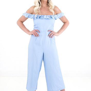 Women's Ruffle Trim Off the Shoulder Cropped Jumpsuit