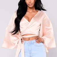 Elsie Satin Top - Champagne