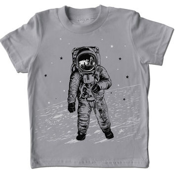 Grey Astronaut Moon Shirt - space walk on the moon graphic with white and black ink screenprint, rad science t-shirt for boy and girl