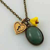 Green Aventurine Pendant on Antique Gold Chain Necklace, Small Pendant