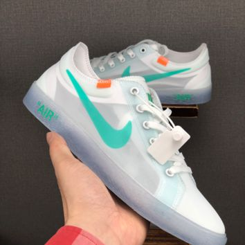 HCXX 19June 1223 Off White Nike Blazer MID Breathable Fashion Grenadine Casual Skateboard Shoes white green