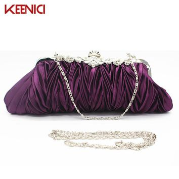KEENICI Bridal Wedding Lady Satin Evening Bags Lace Pouch Day Banquet Clutches Women Messenger Shoulder Bag Party Bag With Chain