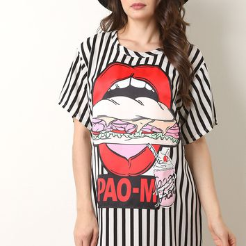 Striped Lips And Sandwich Shift Dress