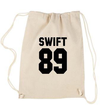 Swift 89 (Black Print) Birth Year Drawstring Backpack