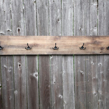 Large Reclaimed Wood Rack for Coats-Jackets-Hats-Jewelry / Antique / Retro / Silver 5 / Rustic / Modern