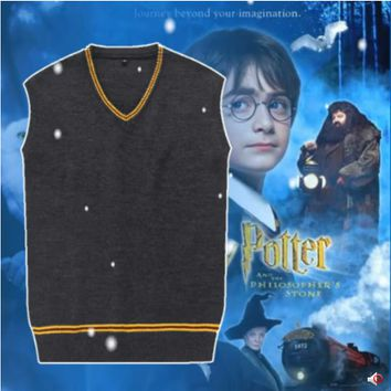 Film Harry Potter Style Cotton Preppy Style VestJK School Uniform Sweater Beige Sleeveless Deep Grey Vest Cosplay