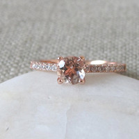 Solitaire Morganite Ring- Promise Ring for Her- Rose Gold Morganite Ring- Classic Engagement Ring- Rings for Her- Stone Ring