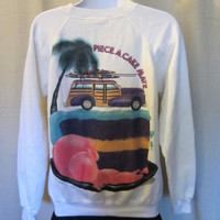 Vintage Amazing 1988 SKATE BEACH Summer Sportswear Graphic Acrylic Cotton Hanes Women Crewneck SWEATSHIRT