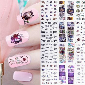 1 Big Sheet Owl Dream Catcher Nail Water Decal 12 Patterns Mix Manicure Nail Art Transfer Sticke