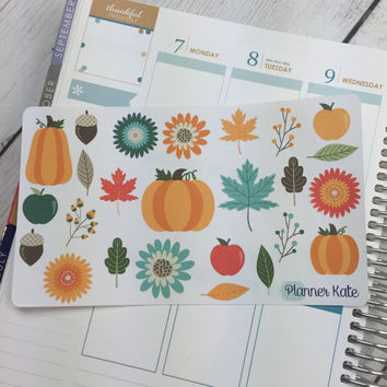 FALL-001 || AUTUMN SAMPLER for Planner (25 Removable Matte Stickers)