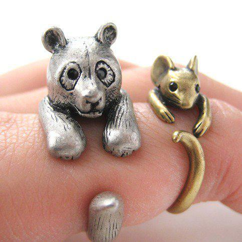 Dotoly   3D Panda Bear Ring in Silver - Sizes 5 to 10 Available   Online Store Powered by Storenvy
