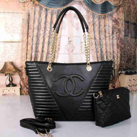 CHANEL Women Shopping Leather Satchel Tote Shoulder Bag Handbag