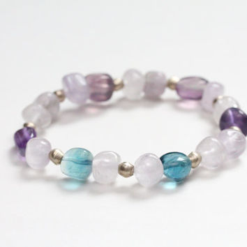 purple and teal stretch bracelet / amethyst fluorite gemstone bracelet / ethiopian nickel / mothers day rustic spring jewelry lavender