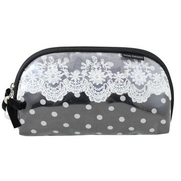 "Polka Dot Romance Flat Cosmetic Bag 8""""X5""""X0.5"""" Black: Black"