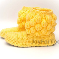 Crochet Women Boots, Handmade Slippers for the House, Gifts for her, Surprise for holiday, One-colored Bubbles. Yellow, Custom Made