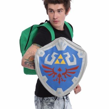 High Quality The Legend of Zeld Cosplay Backpacks Zelda link Shield Backpack PU Bag in Tag Cosplay Bags  for birthday gift