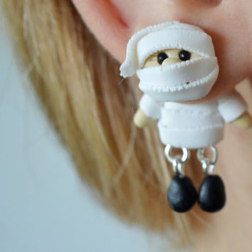 Mummy ear plugs,Halloween jewelry,Gauge plug,Holiday ear tunnel,Monster Earrings,Cute dangling stretchers,hanging gauges,White earplug