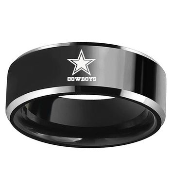 Dallas Cowboys Football Team Black Silver Stainless Steel Men's 316L Ring