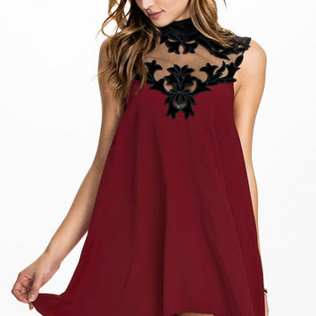 Floral Lace High Neck Sleeveless Skater Dress with Key Hole Back