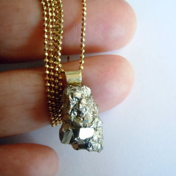 Pyrite Raw Stone Necklace - Organic Mineral Necklace - Tiny