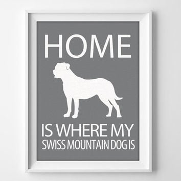 "8x10"" Swiss Mountain Wall Art, Swiss Mountain Dog, Illustrated Dog Art, Swiss Mountain Decor, Dog Breed Wall Art, Swiss Mountain Print"