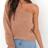 Coffee Asymmetric Shoulder Off Shoulder Long Sleeve Fashion Pullover Sweater