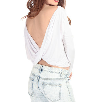 White Draped Long Sleeve Top