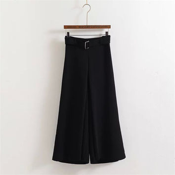Korean Summer Women's Fashion High Rise Chiffon Pants Waistband Cropped Pants [4920284228]