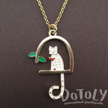White Kitty Cat Sitting in a Birdcage Shaped Pendant Necklace | Animal Jewelry