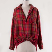 Laid-Back Plaid Top in Red